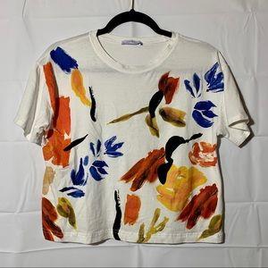 Zara floral watercolor graphic crop t shirt